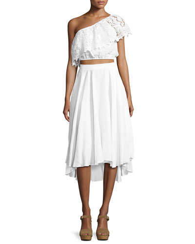 Doris One-Shoulder Linen Crop Top, White and Matching Items