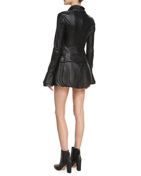 High-Waist Leather Petal Skirt, Black