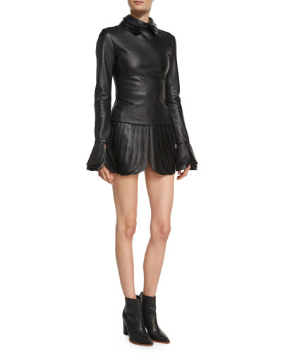 High-Waist Leather Petal Skirt, Black and Matching Items