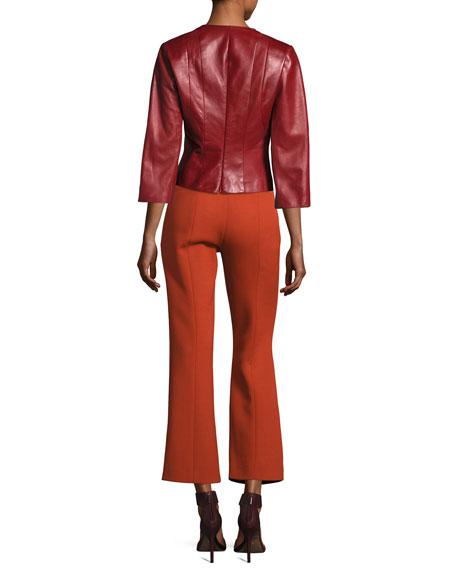 Plongé Leather Split-Neck Top, Red
