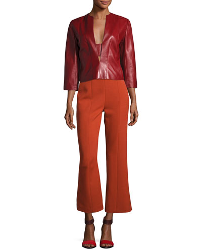 Wool High-Waist Cropped Straight-Leg Pants and Matching Items