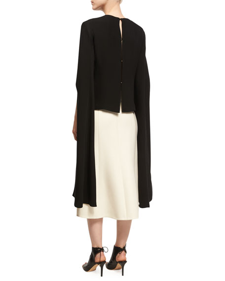Wool-Silk Pencil Skirt with Slit, Ivory