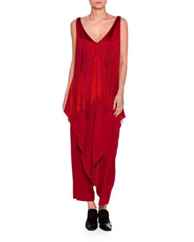 Gabbi Ruffle-Front Harem Pants, Bright Pink and Matching Items