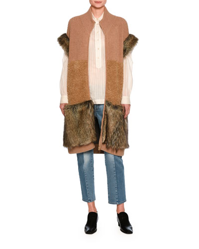 Virgin Wool & Faux Fur Vest, Brown and Matching Items