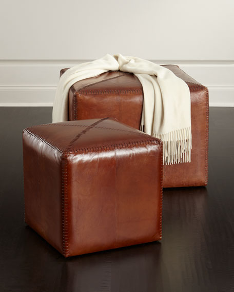 Boland Small Leather Ottoman