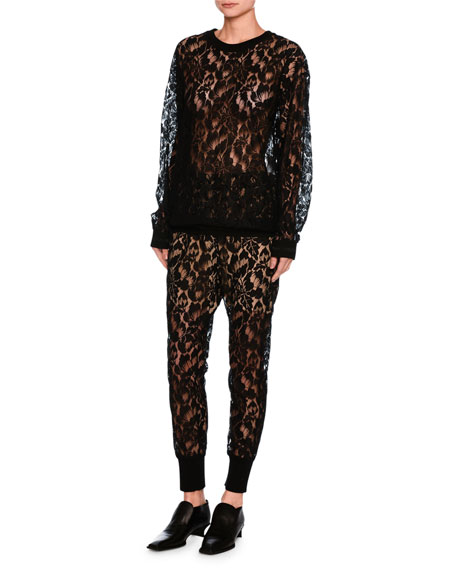 Ines Floral Lace Sweatshirt, Black