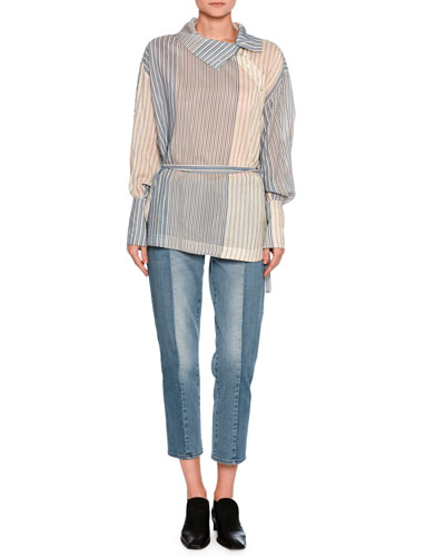 Kimberly Mixed-Denim Cropped Straight-Leg Jeans, Medium Blue and Matching Items