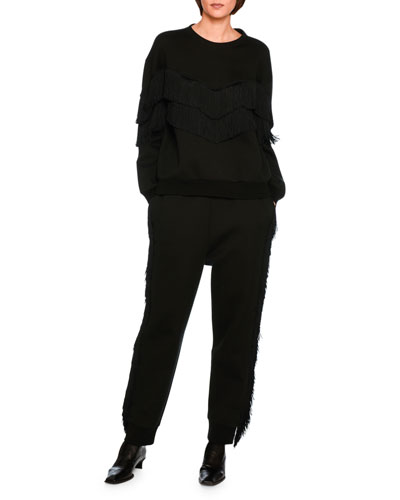 Tiered V-Fringe Sweatshirt, Black and Matching Items