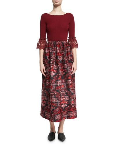 3/4-Sleeve Lace-Cuff Merino Wool Sweater, Dark Red and Matching Items