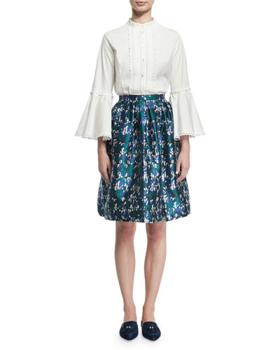 Houndstooth Floral Jacquard Skirt, Blue and Matching Items