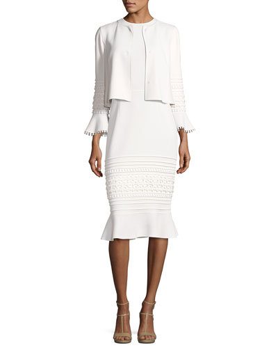 Sleeveless Embroidered Flounce-Hem Sheath Dress, White and Matching Items