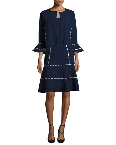 Flounce-Sleeve Scalloped-Trim Jacket, Blue/White and Matching Items