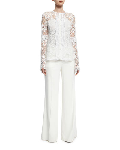 Lace Bell-Sleeve Shirt, White and Matching Items