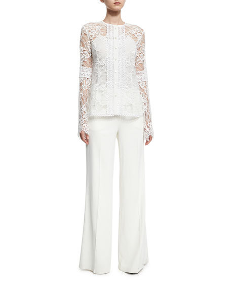 Lace Bell-Sleeve Shirt, White