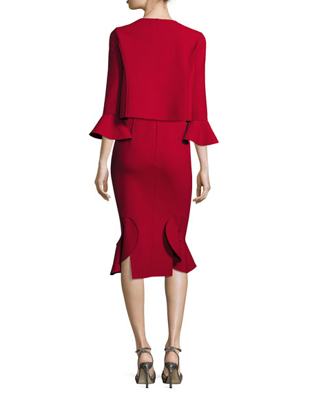 Sleeveless Flounce-Hem Sheath Dress, Dark Red