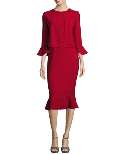 Sleeveless Flounce-Hem Sheath Dress, Dark Red and Matching Items