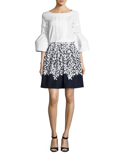 Flounce-Sleeve Embroidered Poplin Blouse, White/Blue and Matching Items