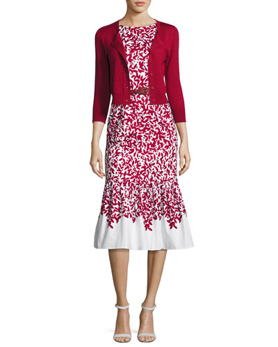 Graphic Leaves Sleeveless Mermaid Midi Dress, Red/White and Matching Items