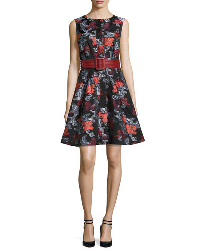 Sleeveless Floral Jacquard A-Line Dress, Navy and Matching Items