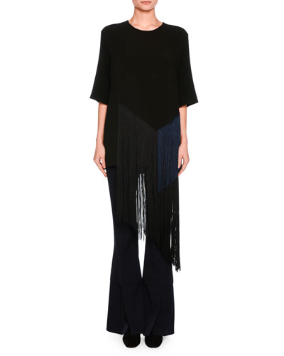 Sally Flare-Leg Double-Hem Trousers, Dark Blue and Matching Items