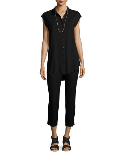 Lightweight Button-Front Jersey Tunic, Petite and Matching Items