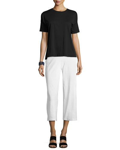 Wide-Leg Washable-Crepe Cropped Pants, Petite and Matching Items