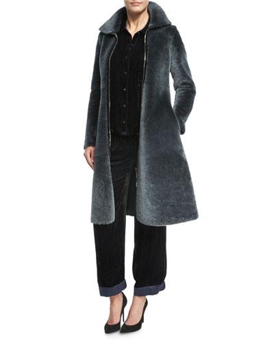 Reversible Shearling Fur Princess Coat, Dark Gray and Matching Items