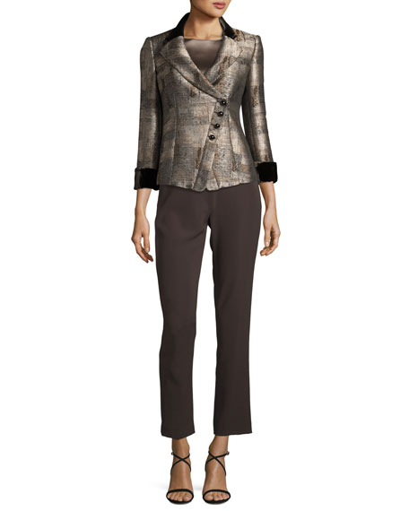 Jacquard Asymmetric-Button Jacket, Neutral