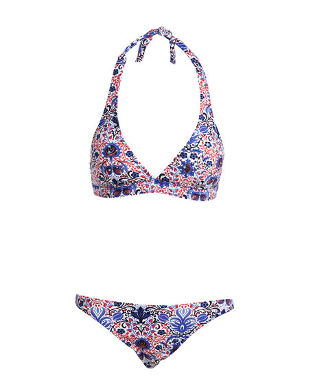 Embellished Halter Swim Top, Multiprint