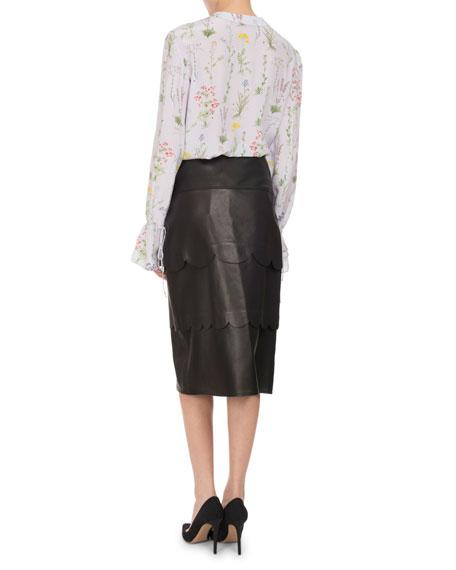 Christina Floral Silk Bell-Sleeve Shirt, Lilac