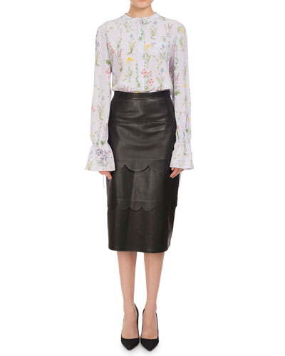 Christina Floral Silk Bell-Sleeve Shirt, Lilac and Matching Items