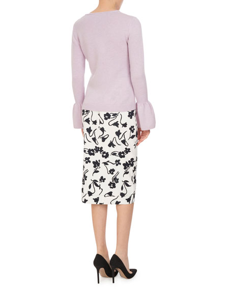 Celandrine Abstract Floral Pencil Skirt, White