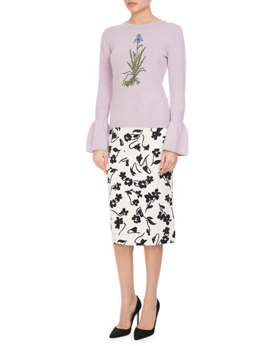 Bovary Embroidered Wool Bell-Sleeve Sweater, Lilac and Matching Items