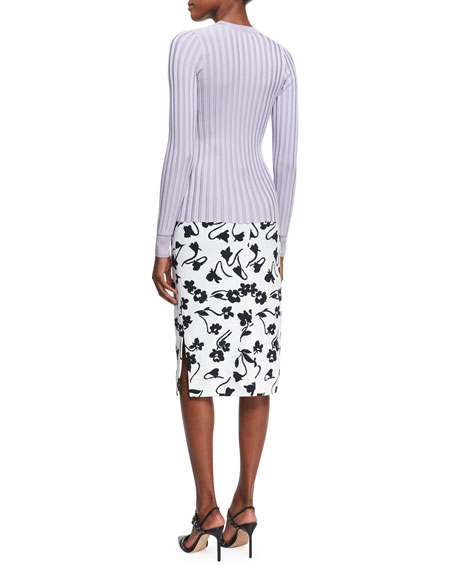 Celandrine Abstract Floral Pencil Skirt, White