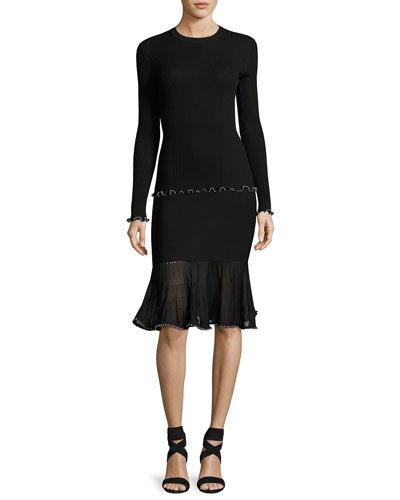Milano Rib Long-Sleeve Top with Ball Chain Trim, Black and Matching Items