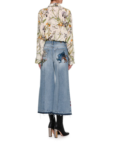 Embroidered Denim Culottes with Released Hem, Blue
