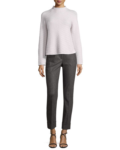 Flannel Cashmere-Blend Slim Cuffed Pants, Gray and Matching Items