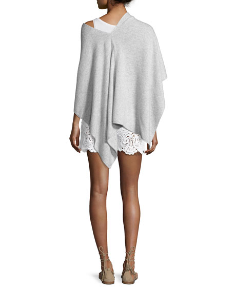 Solid Cashmere Wrap Topper, gray