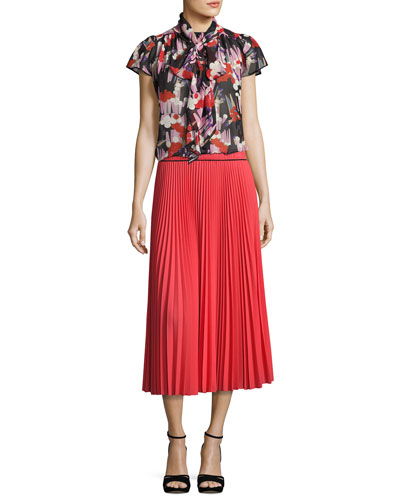 Pleated Crêpe de Chine Midi Skirt, Orange and Matching Items