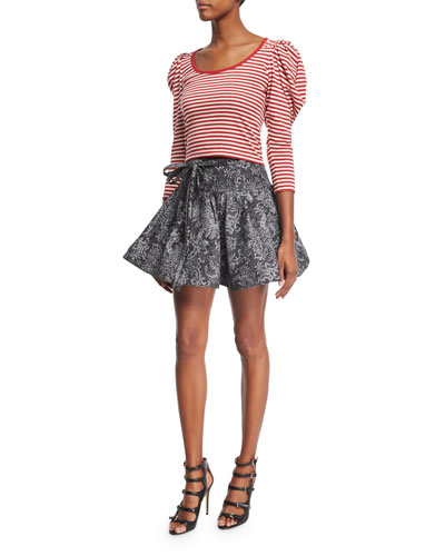 Puff-Sleeve U-Neck Striped Top, Red and Matching Items