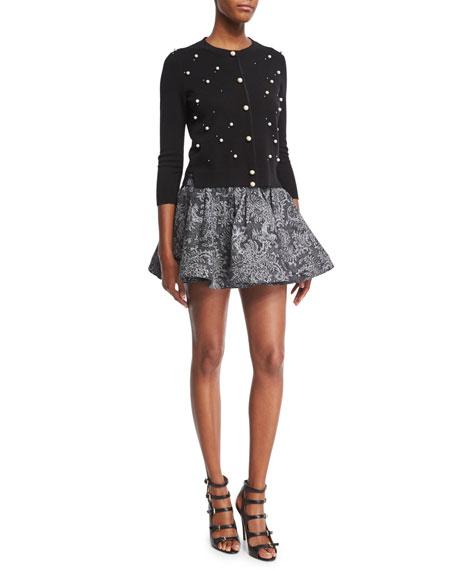 Lace-Print High-Waist Denim Ruffle Skirt, Black