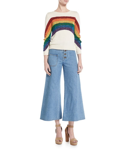 Lurex® Rainbow Cotton Sweater, White and Matching Items