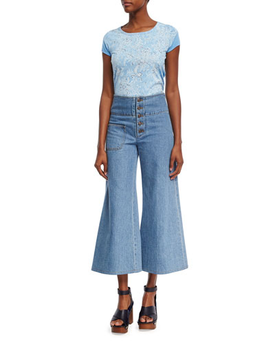 High-Waist Wide-Leg Cropped Jeans, Indigo and Matching Items