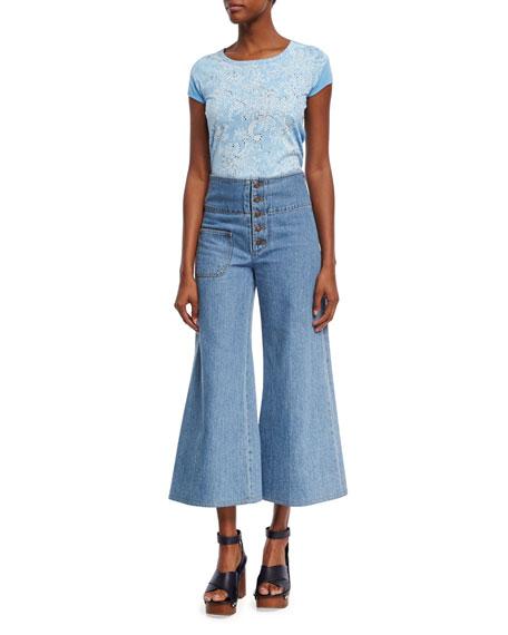 High-Waist Wide-Leg Cropped Jeans, Indigo