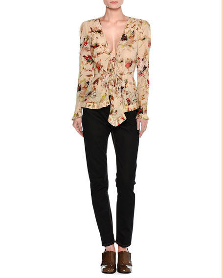 Cosmic Floral Long-Sleeve Wrap Blouse, Ivory/Multicolor