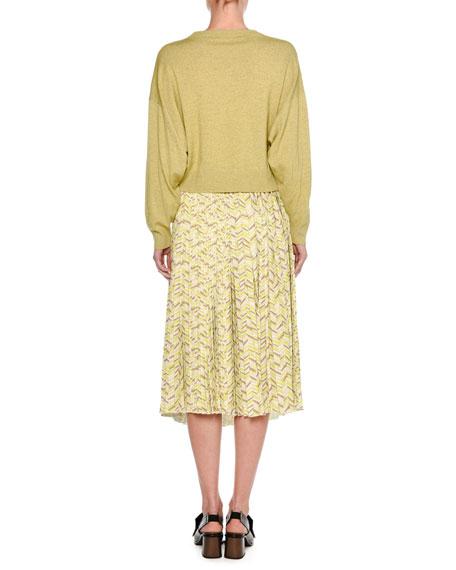 Mélange Wool Zip-Sleeve Sweater, Yellow