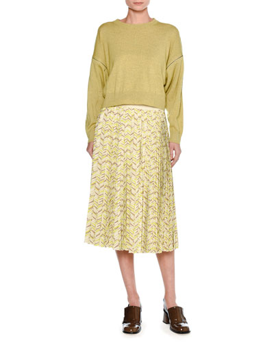 Mélange Wool Zip-Sleeve Sweater, Yellow and Matching Items