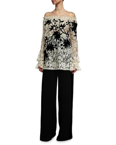 Wide-Leg Velvet-Trim Tuxedo Pants, Black and Matching Items