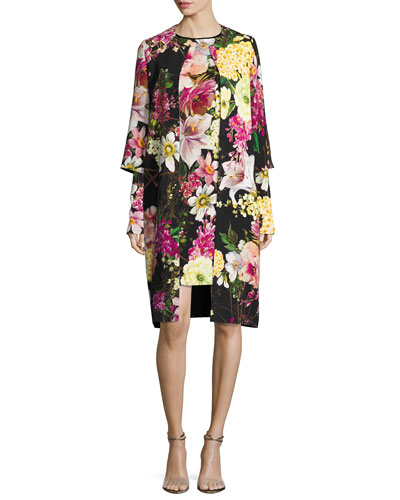 Floral-Print 3/4-Sleeve Coat, Black and Matching Items