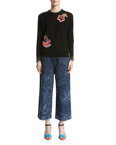 Floral Wide-Leg Culotte Jeans, Navy and Matching Items